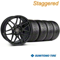 Staggered Piano Black Forgestar F14 Monoblock Wheel & Sumitomo Tire Kit - 18x9/10 (99-04 All) - Forgestar KIT||29834||29835||63006||63016