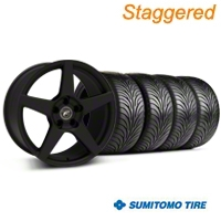 Staggered Textured Black Forgestar CF5 Monoblock Wheel & Sumitomo Tire Kit - 18x9/10 (99-04 All) - Forgestar KIT||29836||29837||63006||63016