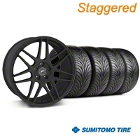 Staggered Textured Black Forgestar F14 Monoblock Wheel & Sumitomo Tire Kit - 18x9/10 (99-04 All) - Forgestar KIT||29838||29839||63006||63016