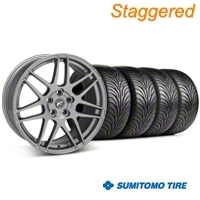 Staggered Gunmetal Forgestar F14 Monoblock Wheel & Sumitomo Tire Kit - 18x9/10 (99-04 All)