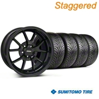 Staggered Gloss Black FR500 Wheel & Sumitomo Tire Kit - 18x9/10 (99-04 All) - AmericanMuscle Wheels KIT||28474||28477||63006||63016