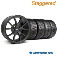 Staggered Matte Black FR500 Wheel & Sumitomo Tire Kit - 18x9/10 (99-04 All) - AmericanMuscle Wheels KIT||28473||28475||63016||63006