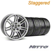 Staggered Anthracite 10th Anniversary Style Wheel & NITTO Tire Kit - 18x9/10 (99-04 All) - AmericanMuscle Wheels KIT||28347||28350||76013||76003
