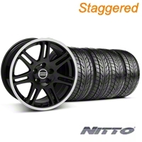 Staggered Black 10th Anniversary Style Wheel & NITTO Tire Kit - 18x9/10 (99-04 All) - AmericanMuscle Wheels KIT||28348||28351||76003||76013
