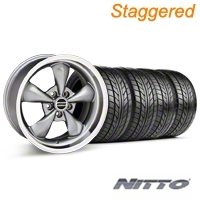 Staggered Anthracite Deep Dish Bullitt Mustang Wheel & NITTO Tire Kit - 18x9/10 (99-04 All) - AmericanMuscle Wheels KIT||28322||28323||76003||76013