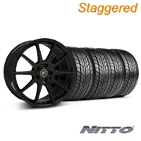 Staggerd Piano Black Forgestar CF5 Monoblock Wheel & NITTO Tire Kit - 18x9/10 (99-04 All)