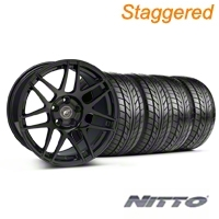 Staggered Piano Black Forgestar F14 Monoblock Wheel & NITTO Tire Kit - 18x9/10 (99-04 All)