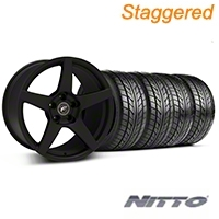 Staggered Textured Black Forgestar CF5 Monoblock Wheel & NITTO Tire Kit - 18x9/10 (99-04 All) - Forgestar KIT||29837||29838||76003||76013