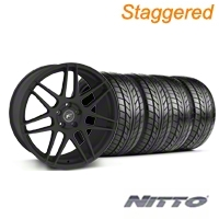 Forgestar Staggered F14 Monoblock Textured Black Wheel & NITTO Tire Kit - 18x9/10 (99-04 All) - Forgestar 29838||29839||76003||76013||KIT