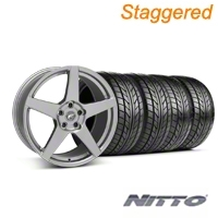 Forgestar Staggered CF5 Monoblock Gunmetal Wheel & NITTO Tire Kit - 18x9/10 (99-04 All) - Forgestar 29840||29841||76003||76013||KIT