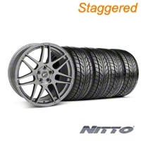 Staggered Gunmetal Forgestar F14 Monoblock Wheel & NITTO Tire Kit - 18x9/10 (99-04 All) - Forgestar KIT||29842||29843||76003||76013