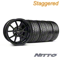 Staggered Gloss Black FR500 Wheel & NITTO Tire Kit - 18x9/10 (99-04 All)