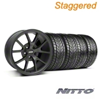 Staggered Matte Black FR500 Wheel & NITTO - 18x9/10 (99-04 All) - AmericanMuscle Wheels KIT||28473||28475||76003||76013