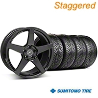 Staggered Forgestar CF5 Monoblock Piano Black Wheel & Sumitomo Tire Kit - 18x9/10 (94-98 All) - American Muscle Wheels KIT||29832||29833||63005||63006