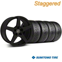 Forgestar Staggered CF5 Monoblock Textured Black Wheel & Sumitomo Tire Kit - 18x9/10 (94-98 All) - Forgestar 29836||29837||63005||63006||KIT