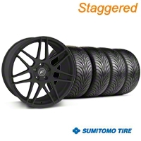 Staggered Forgestar F14  Textured Black Wheel & Sumitomo Tire Kit - 18x9/10 (94-98 All) - American Muscle Wheels KIT||29839||63006||29838||63005