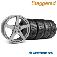 Staggered Forgestar CF5 Monoblock Gunmetal Wheel & Sumitomo Tire Kit - 18x9/10 (94-98 All) - American Muscle Wheels KIT||29840||63005||63006||29841