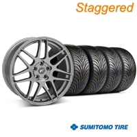 Staggered Forgestar F14 Monoblock Gunmetal Wheel & Sumitomo Tire Kit - 18x9/10 (94-98 All) - American Muscle Wheels KIT||63005||29842||63006||29843