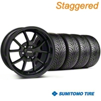Staggered FR500 Gloss Black Wheel & Sumitomo Tire Kit - 18x9/10 (94-98 All) - American Muscle Wheels 28474||28477||63005||63006||KIT