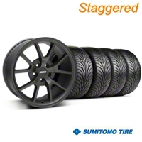 Staggered FR500 Matte Black Wheel & Sumitomo Tire Kit - 18x9/10 (94-98 All) - American Muscle Wheels 28473||28475||63005||63006||KIT