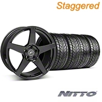 Staggered Forgestar CF5 Monoblock Piano Black Wheel & NITTO Tire Kit - 18x9/10 (94-98 All) - American Muscle Wheels KIT||29833||76003||76002||29832