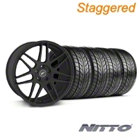 Staggered Forgestar F14 Monoblock Staggered Textured Black Forgestar F14 Monoblock Wheel & NITTO Tire Kit - 18x9/10 (94-98 All) - American Muscle Wheels KIT||76003||76002||29839||29838