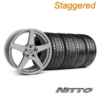 Staggered Forgestar CF5 Monoblock Gunmetal Wheel & NITTO Tire Kit - 18x9/10 (94-98 All) - American Muscle Wheels KIT||76002||29841||76003||29840