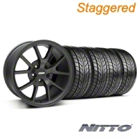 Staggered FR500 Matte Black Wheel & NITTO Tire Kit - 18x9/10 (94-98 All) - American Muscle Wheels 28473||28475||76002||76003||KIT