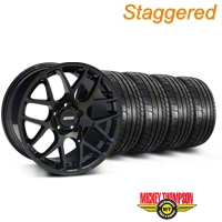 Staggered AMR Black Wheel & Mickey Thompson Tire Kit - 18x8/9 (94-04 All) - American Muscle Wheels KIT||79533||33781||33782||79534