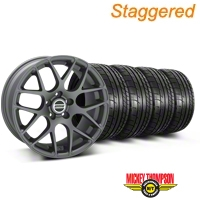 Staggered AMR Charcoal Wheel & Mickey Thompson Tire Kit - 18x8/9 (94-04 All) - American Muscle Wheels KIT||79534||79533||28330||28327