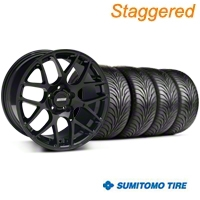 Staggered AMR Black Wheel & Sumitomo Tire Kit - 18x8/9 (94-04 All) - American Muscle Wheels KIT||63029||33782||33781||63016
