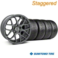 Staggered AMR Charcoal Wheel & Sumitomo Tire Kit - 18x8/9 (94-04 All) - American Muscle Wheels KIT||28330||63016||28327||63029