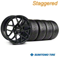 Staggered AMR Black Wheel & Sumitomo Tire Kit - 18x8/9 (94-98 All) - American Muscle Wheels 33781||33782||63005||63029||KIT