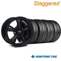 Staggered All Black Bullitt Mustang Wheel & Sumitomo Tire Kit - 17x9/10 (99-04 All) - AmericanMuscle Wheels KIT||28480||28479||63000||63003