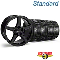 S Style Black Wheel & Mickey Thompson Tire Kit - 18x9 (05-14 GT, V6) - American Muscle Wheels 28252||79537||KIT