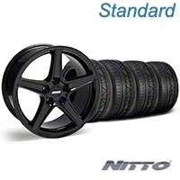 Black S Style Wheel & NITTO INVO Tire Kit - 18x9 (05-14 GT, V6) - AmericanMuscle Wheels KIT||28252||79522