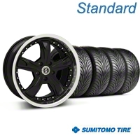 Shelby Razor Black Wheel & Sumitomo Tire Kit - 18x9 (05-14 GT, V6) - American Muscle Wheels 63008||99226||KIT