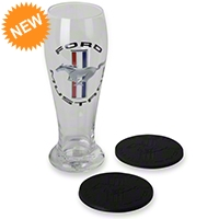 Ford Mustang Pilsner Glass and Coaster - Ford FRD-48702