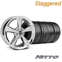 Staggered Chrome 2010 OE Style Wheel & NITTO Tire Kit - 18x8/10 (05-14 All) - AmericanMuscle Wheels KIT 28254||28257||76031||76010