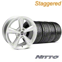 Staggered Silver 2010 OE Style Wheel & NITTO Tire Kit - 18x8/10 (05-14 All) - AmericanMuscle Wheels KIT 28255||28258||76031||76010