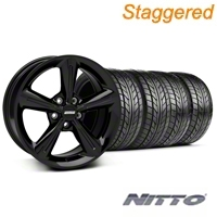 Staggered Black 2010 OE Style Wheel & NITTO Tire Kit - 18x8/10 (05-14 All) - AmericanMuscle Wheels KIT 28253||28256||76031||76010