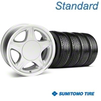 Pony Silver Wheel & Sumitomo Tire Kit - 16x7 (87-93; Excludes 93 Cobra) - American Muscle Wheels 63038||KIT28228