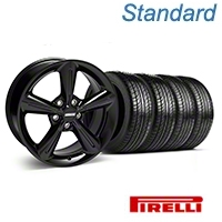 2010 OE Style Black Wheel & Pirelli Tire Kit - 18x8 (05-14 All) - American Muscle Wheels 63104||KIT 28253
