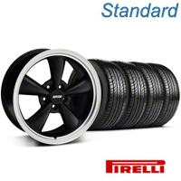 Matte Black Bullitt Wheel & Pirelli Tire Kit - 18x8 (05-14 GT, V6) - AmericanMuscle Wheels KIT 28318||63104