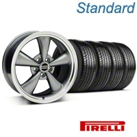 Anthracite Bullitt Wheel & Pirelli Tire Kit - 18x8 (05-14 GT, V6) - AmericanMuscle Wheels KIT 28315||63104
