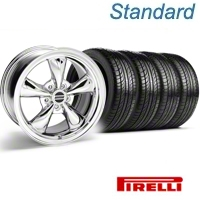 Bullitt Chrome Wheel & Pirelli Tire Kit - 18x8 (05-14 GT, V6) - American Muscle Wheels 63104||KIT 28317
