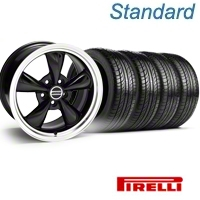 Black Bullitt Wheel & Pirelli Tire Kit - 18x8 (05-14 GT, V6) - AmericanMuscle Wheels KIT 28316||63104