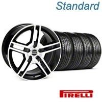 Black Machined 2010 Style GT500 Wheel & Pirelli Tire Kit - 19x8.5 (05-14 All) - AmericanMuscle Wheels KIT 28238||63101
