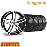 Staggered Black Machined 2010 Style GT500 Wheel & Pirelli Tire Kit - 19x8.5/10 (94-04 All)