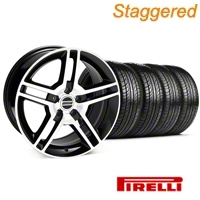 Staggered Black Machined 2010 Style GT500 Wheel & Pirelli Tire Kit - 19x8.5/10 (05-14 All) - AmericanMuscle Wheels KIT 28238||28241||63101||63102